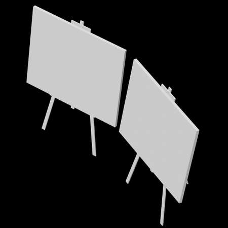 Blank white easel with canvas. 3d render on black background Standard-Bild - 134754519