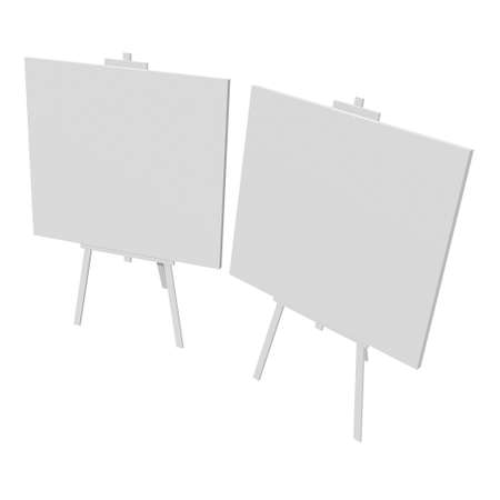 Blank white easel with canvas. 3d render isolated on white background.