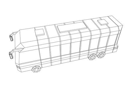 City bus. Wireframe low poly mesh vector illustration. Travel or transportation concept.