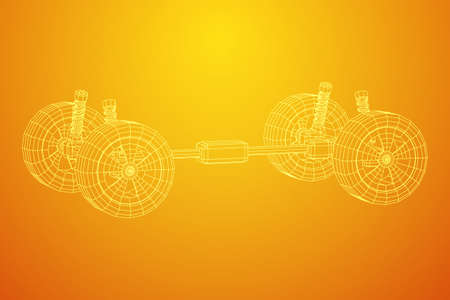 Chassis steering rack. Wireframe low poly mesh vector illustration. Auto service repair car concept. Illustration