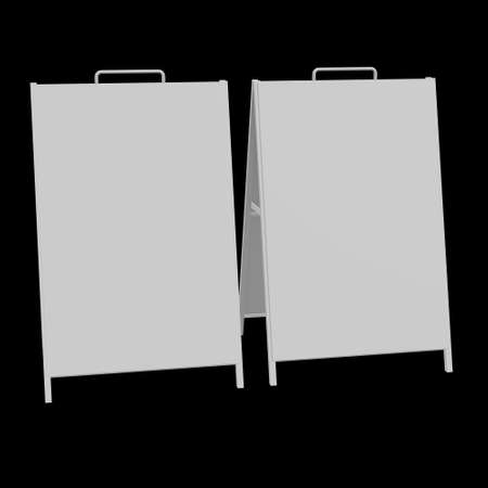 Sandwich board. Blank menu outdoor display with clipping path. Trade show booth white and blank. 3d render on black background. High Resolution Template for your design. 写真素材