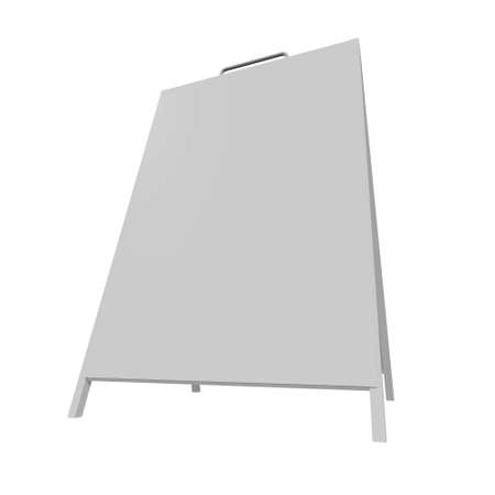 Sandwich board. Blank menu outdoor display with clipping path. Trade show booth white and blank. 3d render isolated on white background. High Resolution Template for your design. 写真素材