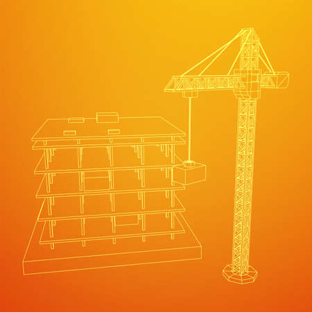 Building under construction with crane. Build house construct in process. Wireframe low poly mesh vector illustration Ilustracja