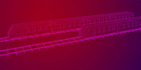 Modern high speed train on straight rails. Railway wireframe low poly mesh vector illustration