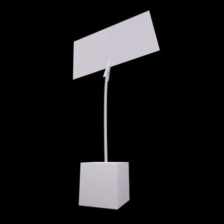 Message holder. Card holder with clip and note on cube base. 3d render on black background.