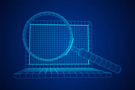 Magnifying glass in front of laptop screen. Business internet surfing, Analysis search concept. Wireframe low poly mesh vector illustration