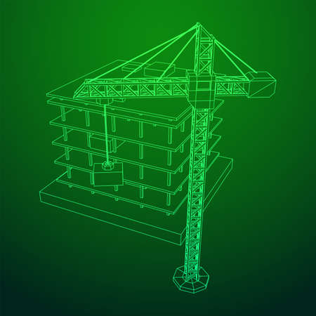 Building under construction with crane. Build house construct in process. Wireframe low poly mesh vector illustration Illusztráció