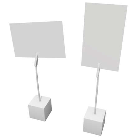 Message holder. Card holder with clip and note on cube base. 3d render isolated on white background.
