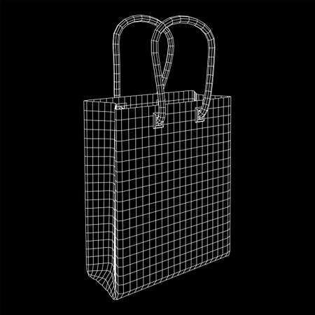 Empty shopping sale bag. Wireframe low poly mesh vector illustration Stockfoto