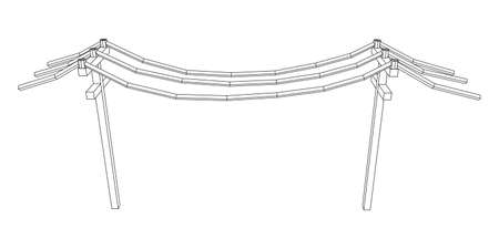 Power transmission high voltage pylon. Wireframe low poly mesh vector illustration 版權商用圖片