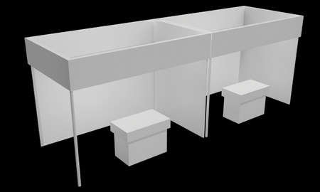 Messestand weiß und leer. Indoor-Ausstellung mit Arbeitswegen. 3D-Render auf schwarzem Hintergrund. Hochauflösende Anzeigenvorlage für Ihr Expo-Design. Standard-Bild
