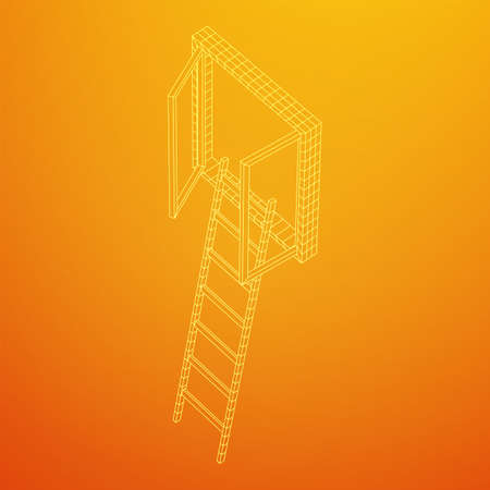 Ladder with open window. Business concept in opportunity. Wireframe low poly mesh vector illustration. Ilustracja