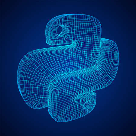 Python code language sign. Programming coding and developing concept. Wireframe low poly mesh vector illustration