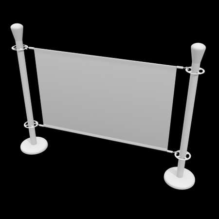 Blank Banner Stand. Trade show booth white and blank. 3d render on black background. High Resolution Template for your design. 版權商用圖片