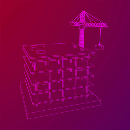 Building under construction with crane. Build house construct in process. Wireframe low poly mesh vector illustration Zdjęcie Seryjne