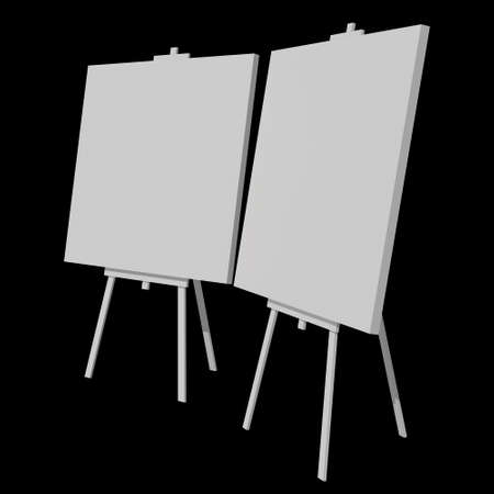 Blank white easel with canvas. 3d render on black background