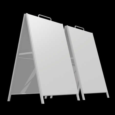 Sandwich board. Blank menu outdoor display. Trade show booth white and blank. 3d render on black background. High Resolution Template for your design. 版權商用圖片