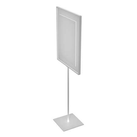 Blank nameplate stand. Trade show booth white and blank. 3d render isolated on white background. High Resolution Template for your design.