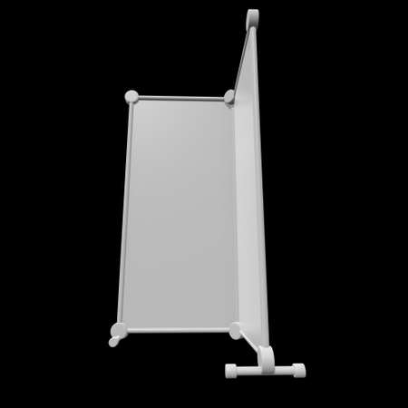 Blank Roll Up fold up Banner Stands. Trade show booth white and blank. 3d render on black background. High Resolution Template for your design. 版權商用圖片