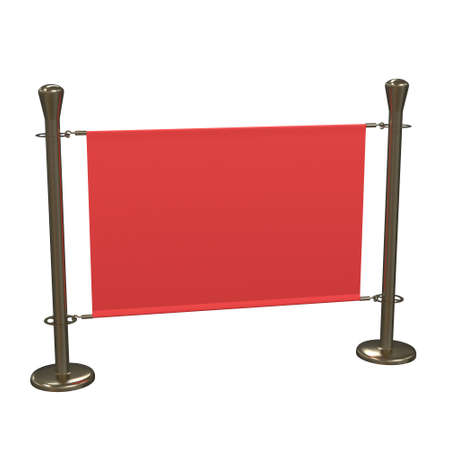 Red and Gold Banner Stand. Trade show booth. 3d render isolated on white background. High Resolution Template for your design. 스톡 콘텐츠