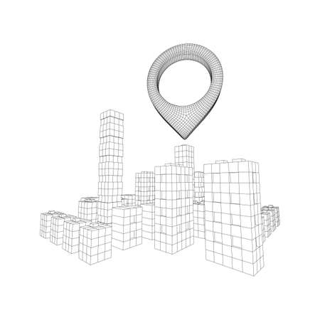 Geo map pin on Mesh low poly wireframe cubes array like skyscraper city. Connected lines town. Connection Box Structure. Digital Data Visualization Concept. Vector Illustration.. Place GPS pictogram. 일러스트