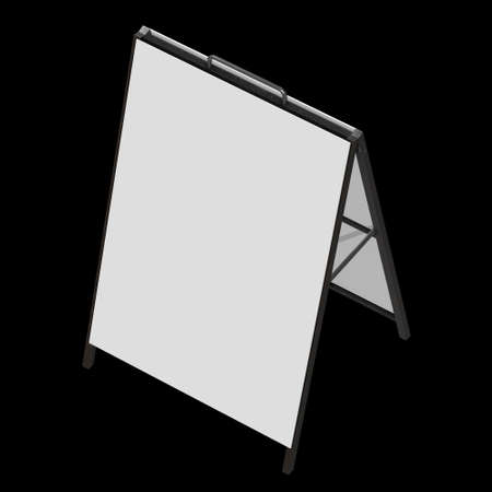 Sandwich board with metal parts. Blank menu outdoor display with clipping path. Trade show booth white and blank. 3d render on black background. High Resolution Template for your design.