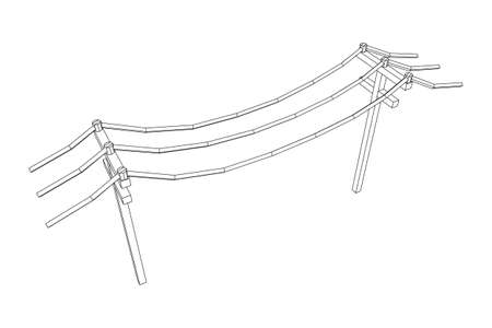 Power transmission high voltage pylon. Wireframe low poly mesh vector illustration Zdjęcie Seryjne