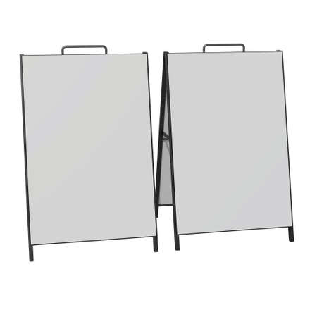 Sandwich board with metal parts. Blank menu outdoor display with clipping path. Trade show booth white and blank. 3d render isolated on white background. High Resolution Template for your design.