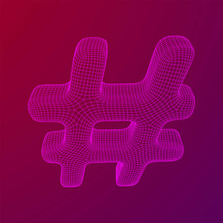 Hashtag icon. Concept of social media, micro blogging PR and popularity. Wireframe low poly mesh vector illustration