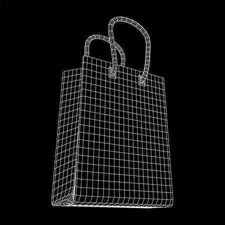 Empty shopping sale bag. Wireframe low poly mesh vector illustration Reklamní fotografie - 135502081