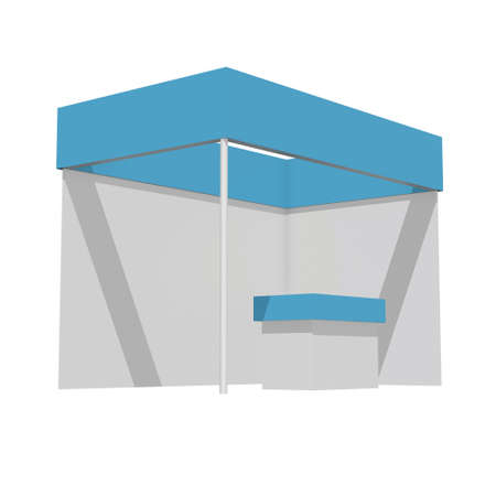 Trade Show Booth Blue and White. Indoor Exhibition with Work Paths. 3d render isolated on white background. High Resolution Ad Template for your Expo design.