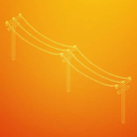 Power transmission high voltage pylon. Wireframe low poly mesh vector illustration Illustration