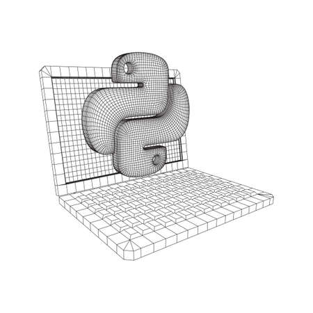 Python code language sign with notebook laptop device. Programming coding and developing concept. Wireframe low poly mesh vector illustration