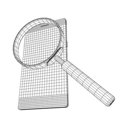 Smartphone mobile touch screen display with magnifying glass. Polygonal geometric design connected lines. Wireframe low poly mesh vector illustration. Ilustração