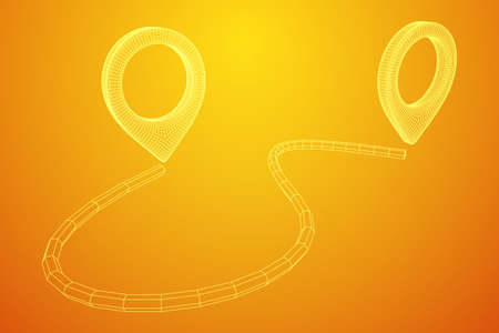 Location Pin Icons For Travel. Two Strait Location Pins Showing A Destination Moving From One Point To Another. Wireframe low poly mesh vector illustration