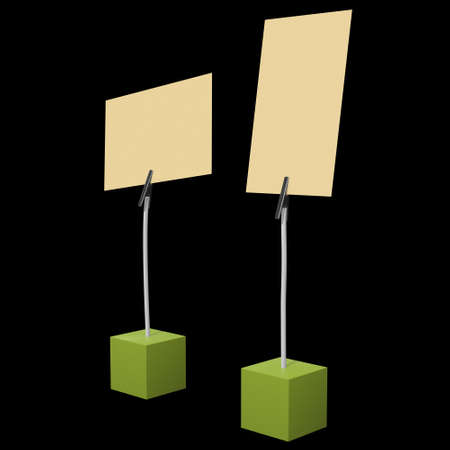 Message holder. Card holder with clip and note on cube base. 3d renderon black background. Stock Photo