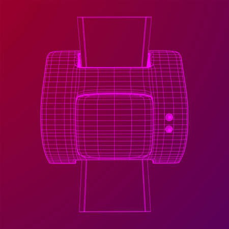Printer or fax object. Wireframe low poly mesh vector illustration