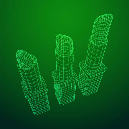 Lipstick makeup concept. Wireframe low poly mesh vector illustration Banque d'images - 137801107