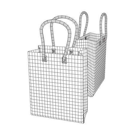 Empty shopping sale bag. Wireframe low poly mesh vector illustration Banque d'images - 137801119