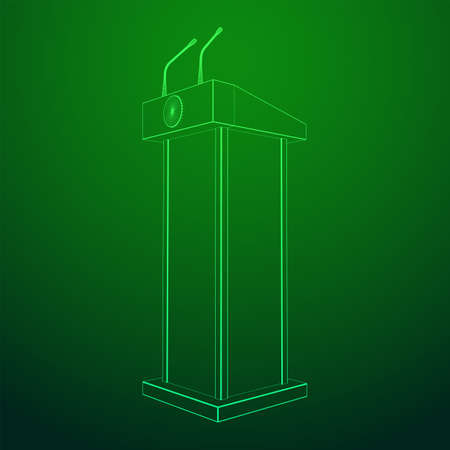 Speaker Podium. White Tribune Rostrum Stand with Microphones. Debate, press conference concept. Wireframe low poly mesh vector illustration Banque d'images - 137801120