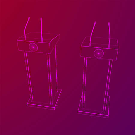 Speaker Podium. White Tribune Rostrum Stand with Microphones. Debate, press conference concept. Wireframe low poly mesh vector illustration Banque d'images - 137801121