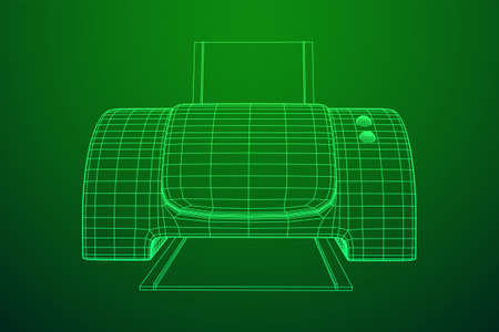 Printer or fax object. Wireframe low poly mesh vector illustration Banque d'images - 137801122