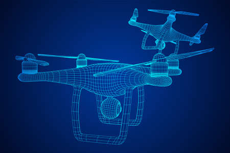 Remote control air drone. Dron flying with action video camera. Wireframe low poly mesh vector illustration Banque d'images - 137803246
