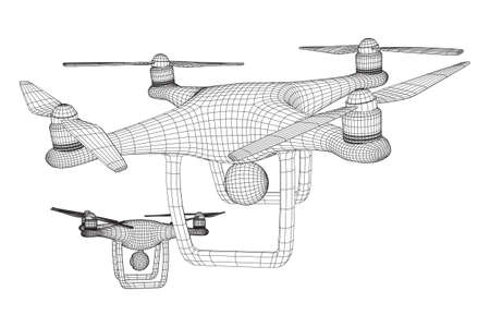 Remote control air drone. Dron flying with action video camera. Wireframe low poly mesh vector illustration Banque d'images - 137802974
