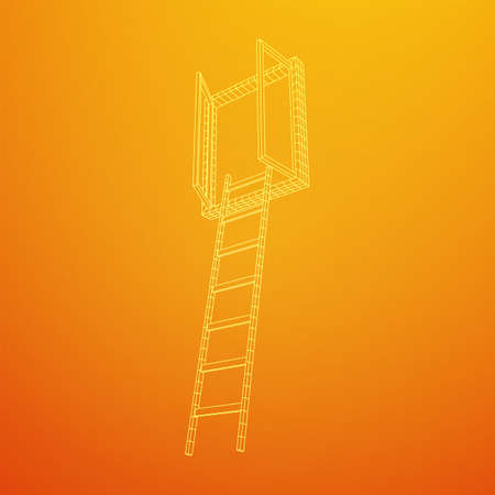 Ladder with open window. Business concept in opportunity. Wireframe low poly mesh vector illustration. Banque d'images - 137825710