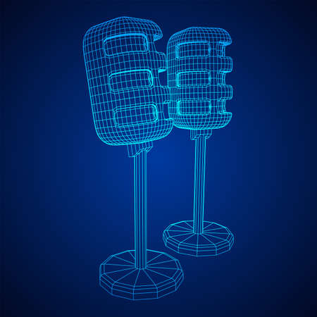 Sound recording equipment vintage microphone. Wireframe low poly mesh vector illustration Banque d'images - 137825714