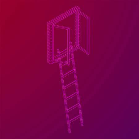 Ladder with open window. Business concept in opportunity. Wireframe low poly mesh vector illustration. Banque d'images - 137825717