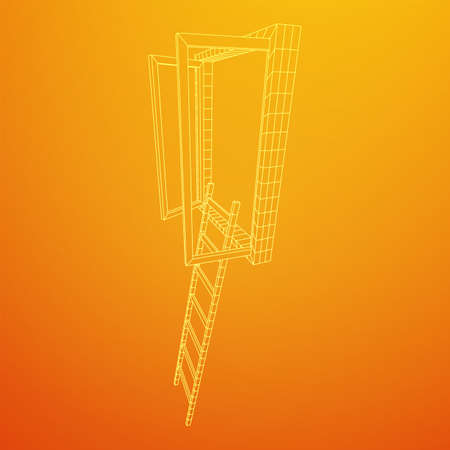 Ladder with open window. Business concept in opportunity. Wireframe low poly mesh vector illustration. Ilustrace