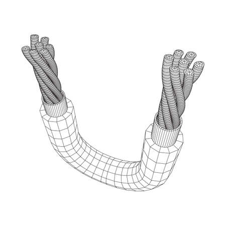 Electrical cable cleared wire. Wireframe low poly mesh vector illustration Banque d'images - 137891195