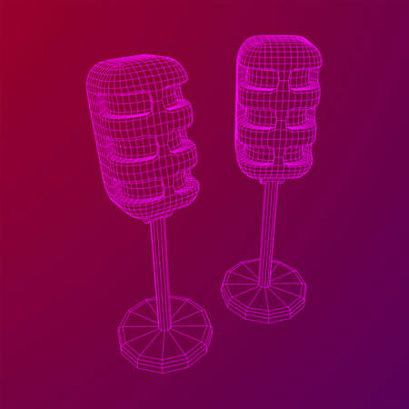 Sound recording equipment vintage microphone. Wireframe low poly mesh vector illustration Banque d'images - 137892323